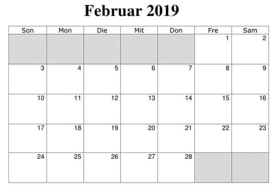 Kalender Februar 2019 Mit Feiertagen Excel