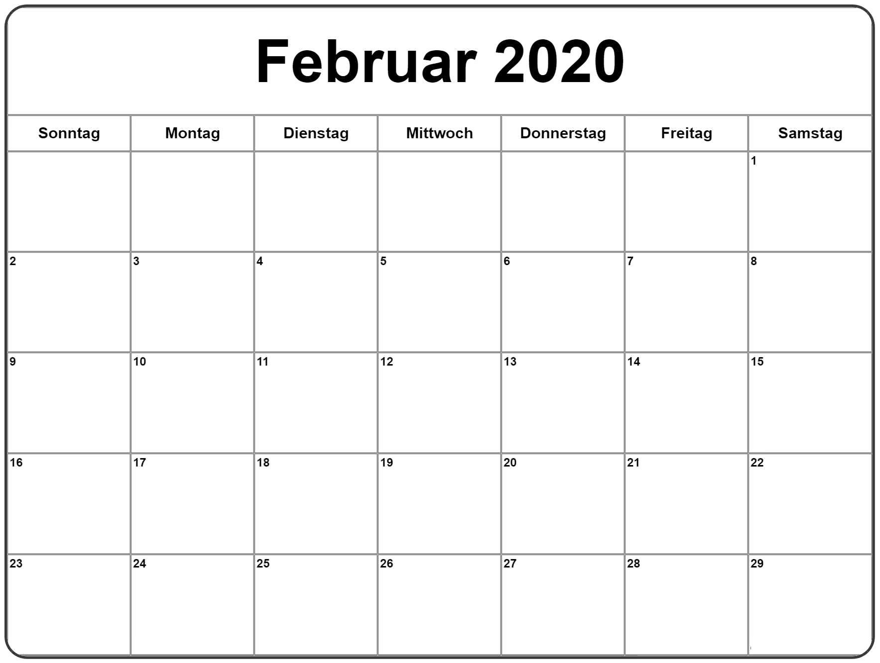Kalender Februar 2020 Bild
