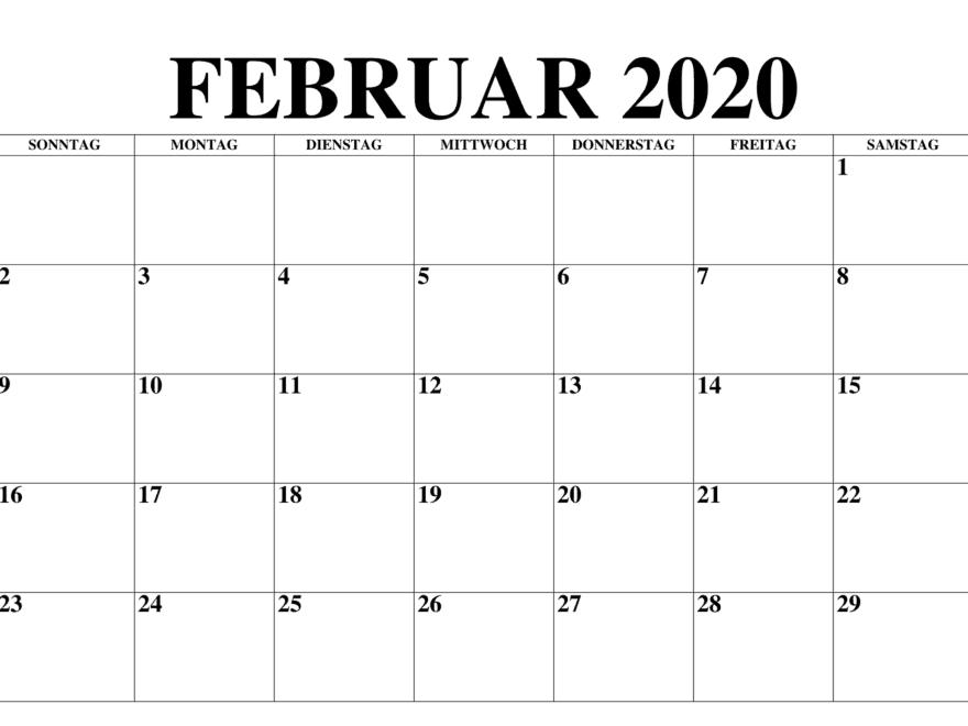 Kalender Februar 2020 Stile