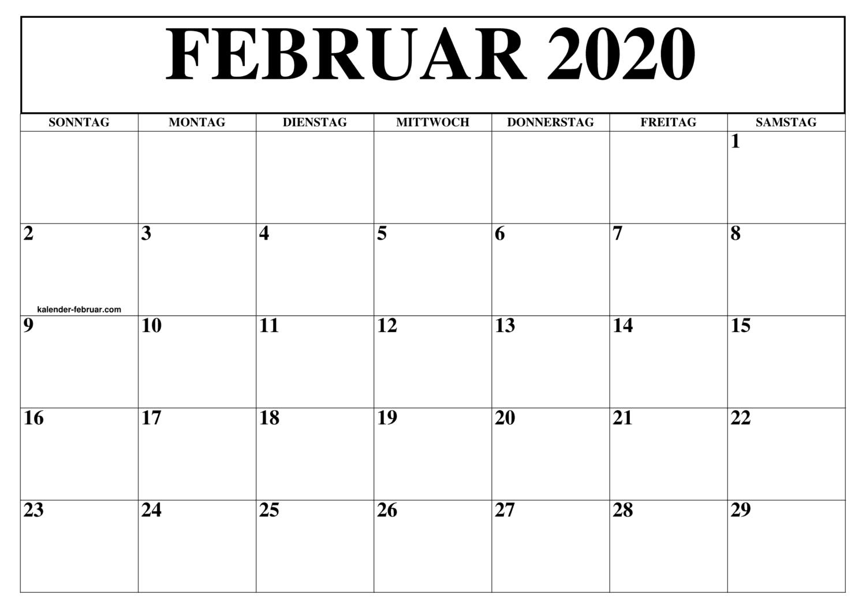Kalender Februar 2020 Zum Ausdrucken Leer