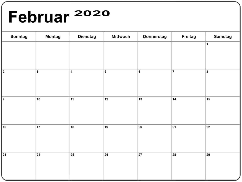 Kalender Februar 2020 Zum Ausdrucken Planer