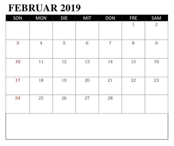 Kalender Leer Februar 2019 Mit Feiertagen
