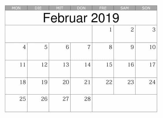 Kalender Montas Februar 2019 Mit Feiertagen