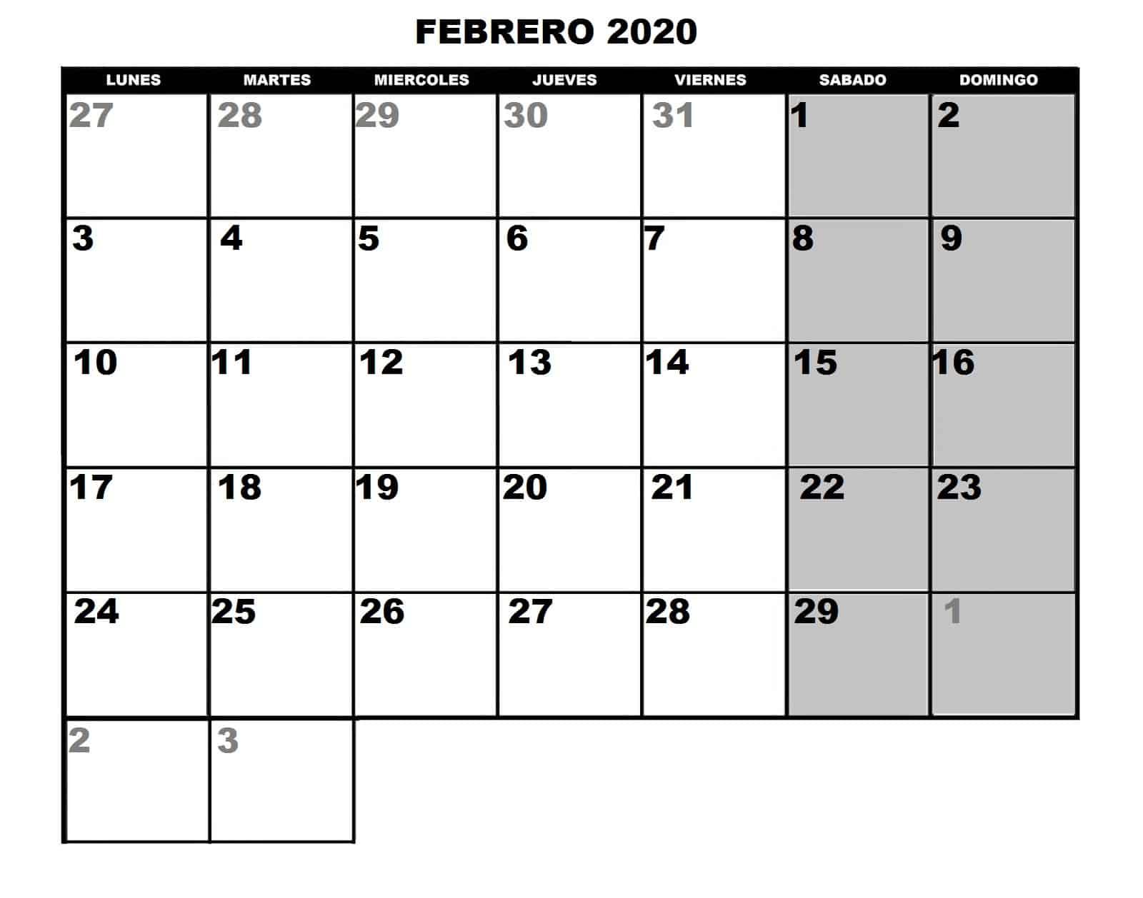 Modelo Calendario Febrero 2020 Chile