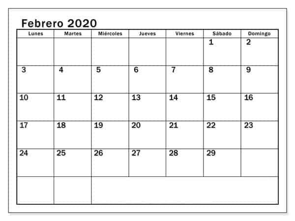 Modelo Calendario Febrero 2020 Para Imprimir