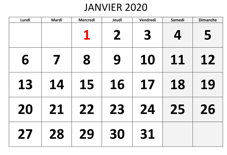 calendrier Janvier 2020 Modele