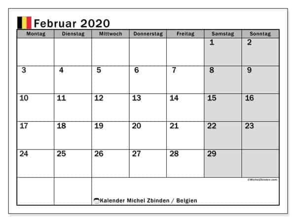 kalender februar 2020 belgien