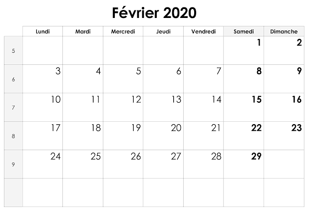 Avec Calendrier Février 2020 À Imprimer Pdf, Excel, Word