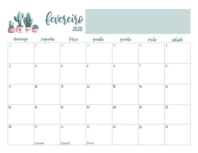 Calendário 2020 Fevereiro Mesa