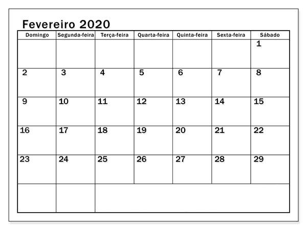 Calendário 2020 Fevereiro Notas
