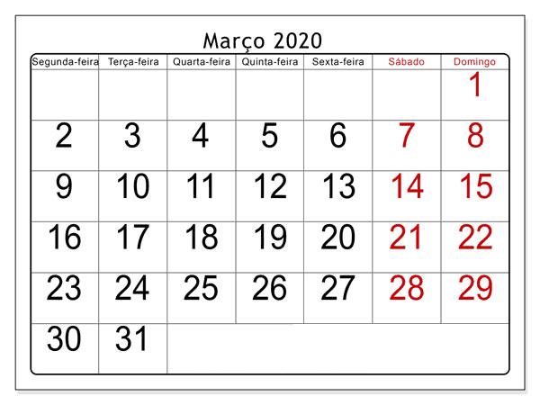Calendário Março 2020 Imprimir Gratuito