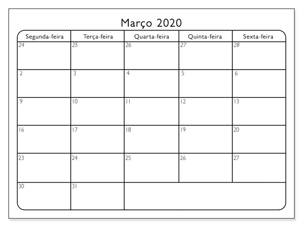 Calendário Março 2020 Imprimir Livre