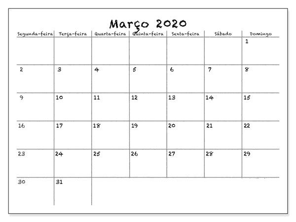 Calendário Março 2020 Imprimir Notas