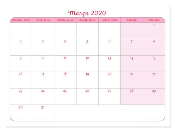 Calendário Março 2020 Imprimir Título