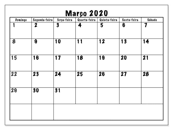 Calendário Março 2020 Livre