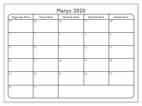 Calendário Março 2020 Mesa