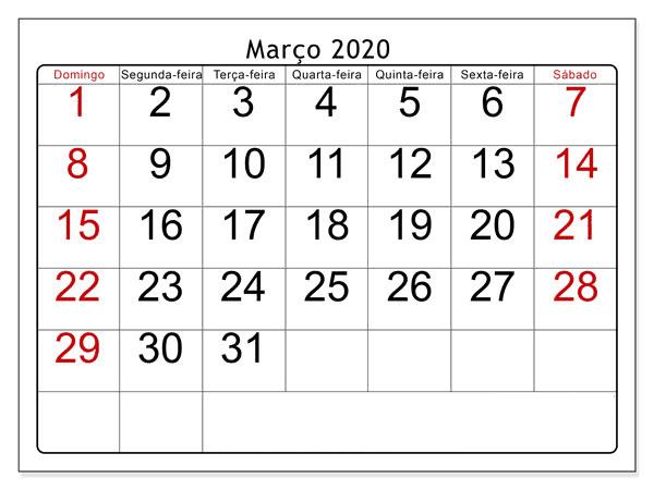 Calendário Março 2020 Modelo