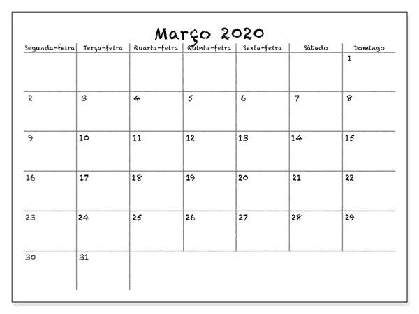 Calendário Março 2020 Para Imprimir Feriados