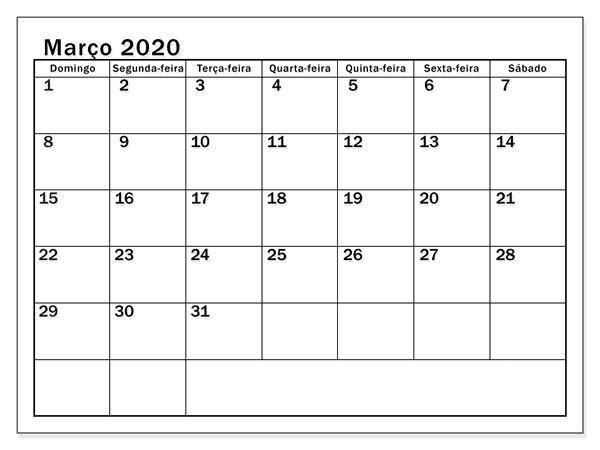 Calendário Março 2020 Para Imprimir Imagens
