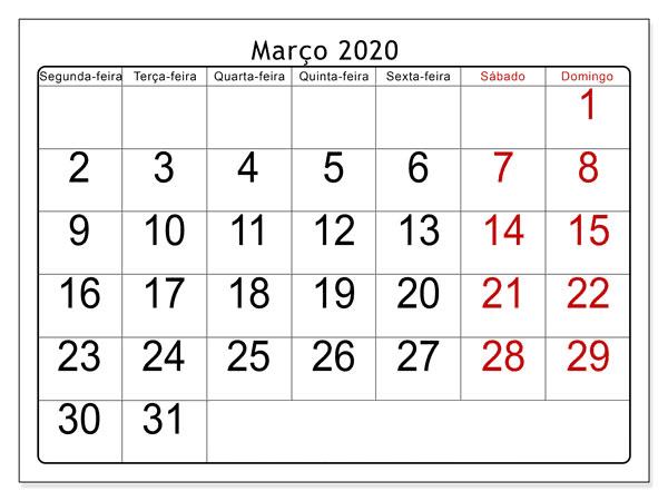 Calendário Março 2020 Para Imprimir Mesa