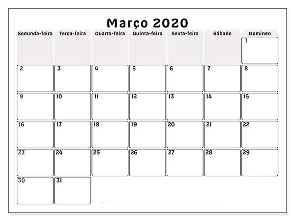 Calendário Março 2020 Para Imprimir Vertical