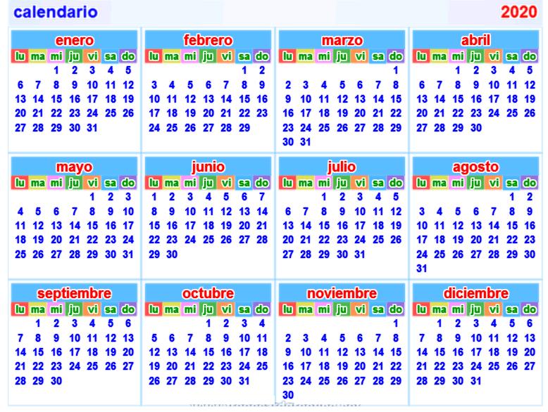 Calendar 2020 Spanish