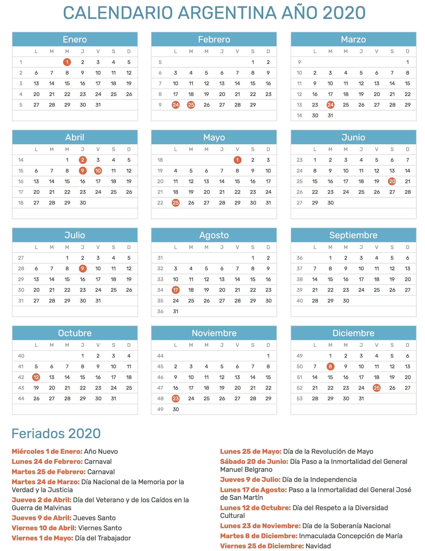 Calendario Argentina 2020