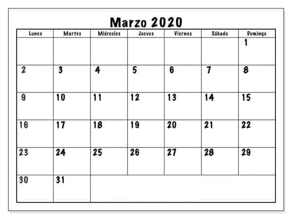 Calendario Marzo 2020 Argentina Mensual