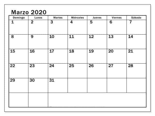 Calendario Marzo 2020 Argentina Vacaciones