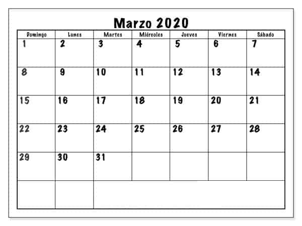 Calendario Marzo 2020 Chile Mes