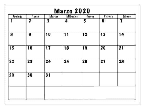 Calendario Marzo 2020 Chile Mes
