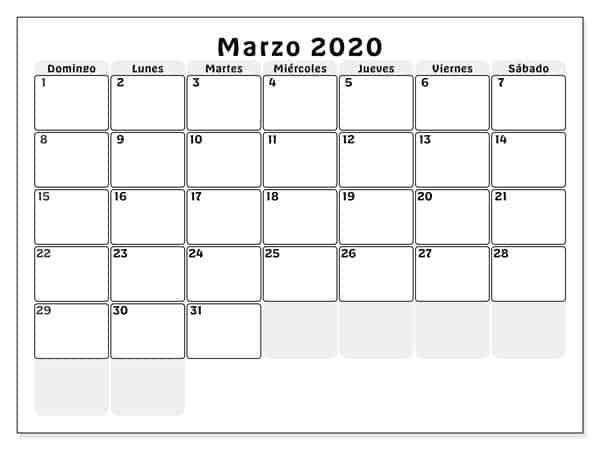 Calendario Marzo 2020 Chile Título