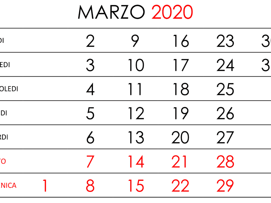Calendario Marzo 2020 Chile Verticali