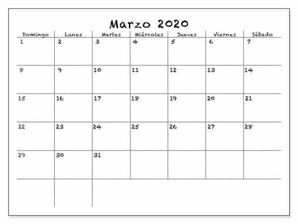 Calendario Marzo 2020 Con Festivos Mes