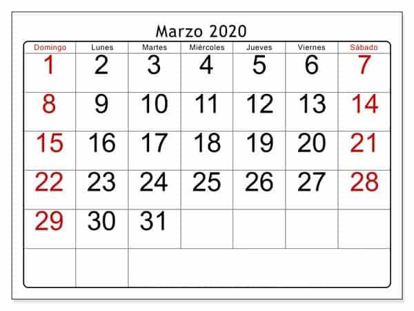Calendario Marzo 2020 Con Festivos Modelo