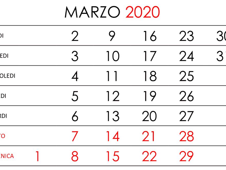 Calendario Marzo 2020 Giorni Verticali Hor