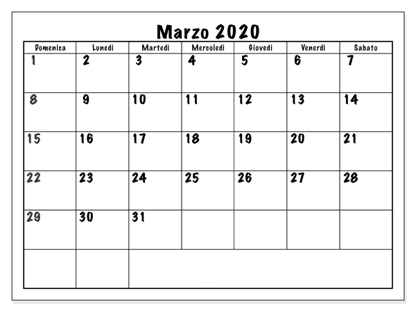 Calendario Marzo 2020 Mensual