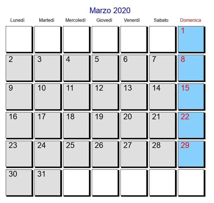 Calendario Marzo 2020 Para Imprimir Mensual