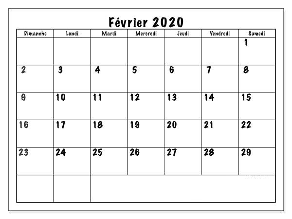 Calendrier 2020 Février Blanc