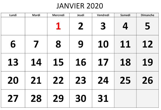 Calendrier Février 2020 PDF Blanc