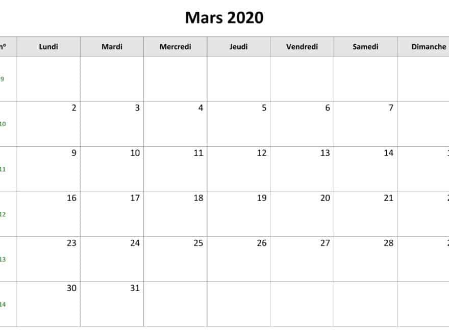 Calendrier Mars 2020 Avec