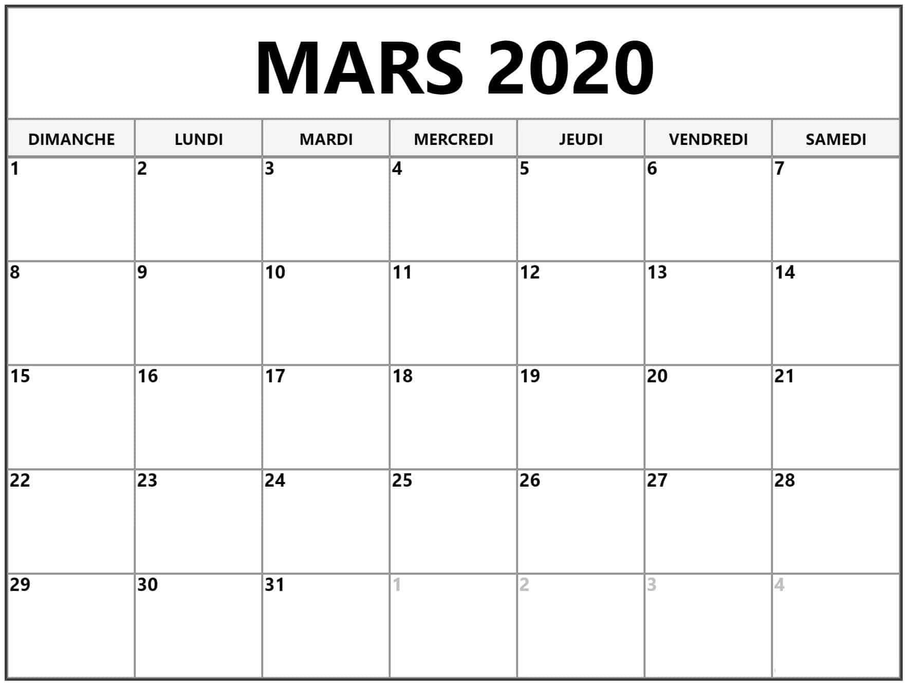 Calendrier Mars 2020 Blanc