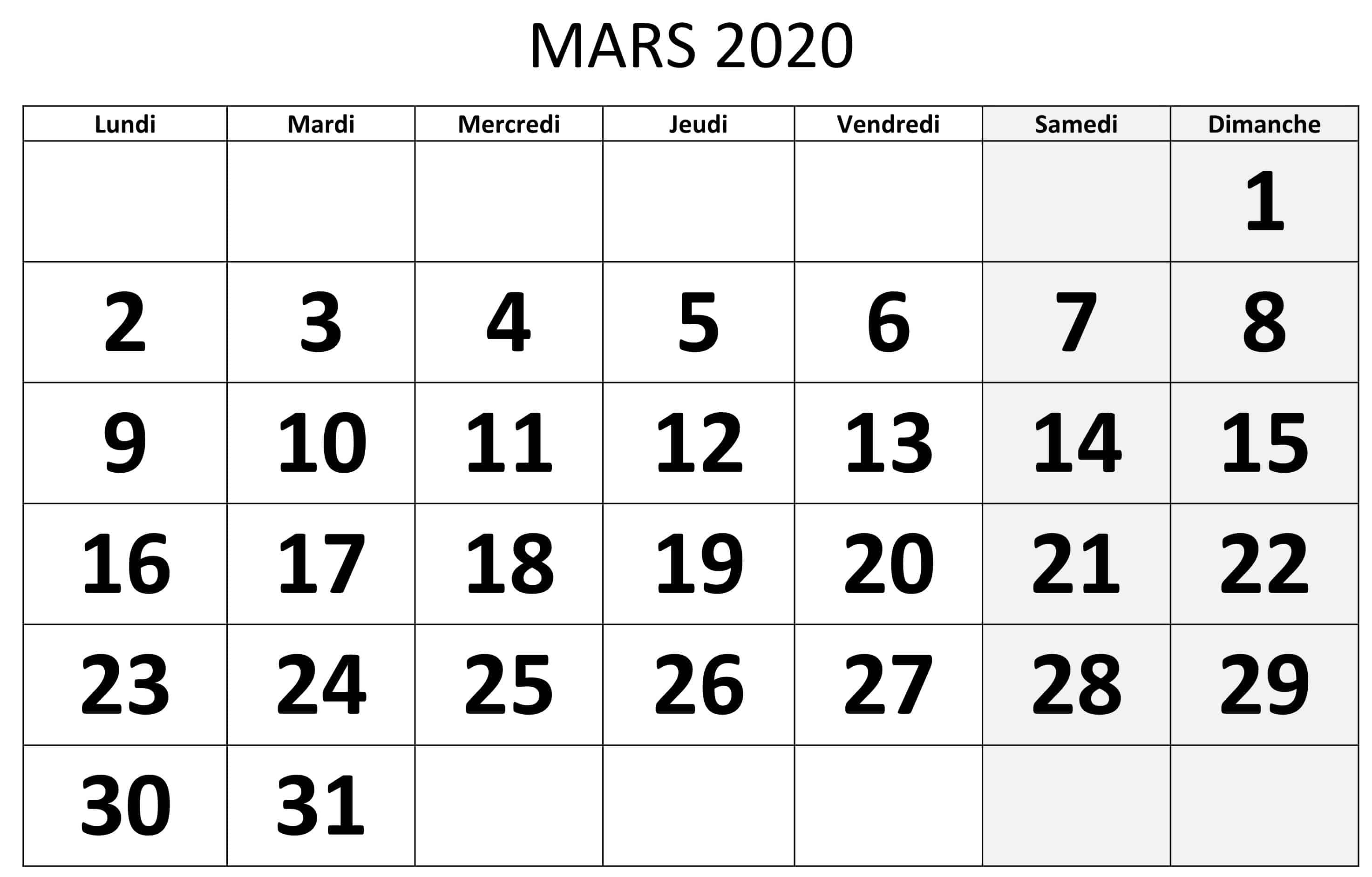 Calendrier Mars 2020 Modele