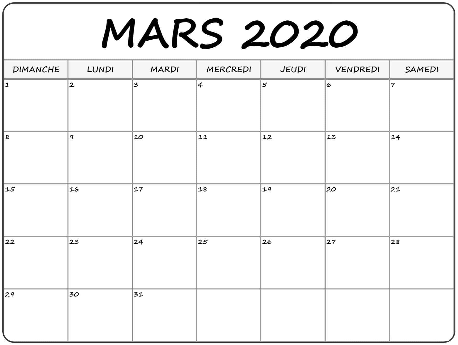 Calendrier Mars 2020 Modes