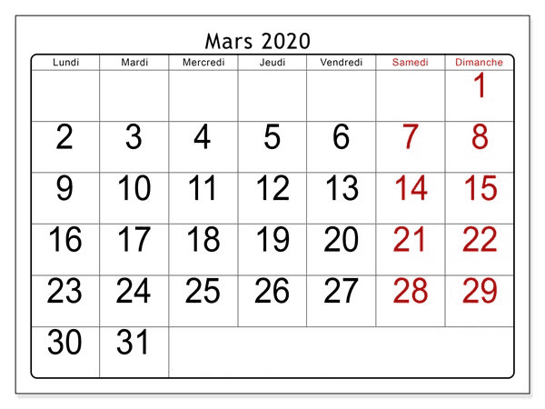 Calendrier Mars 2020 Notes