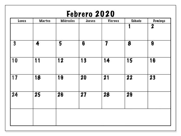 Diseño Calendario Febrero 2020 Argentina