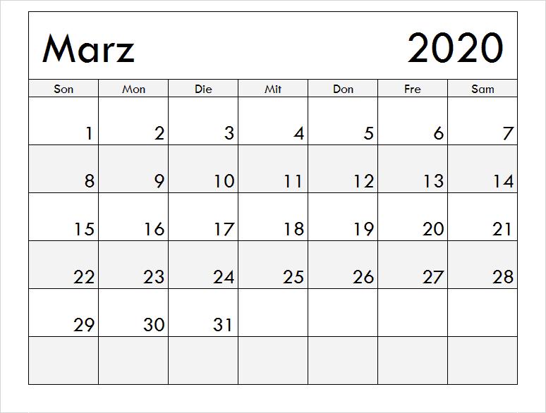 Drucken Marz 2020 Kalender Mit Notizen