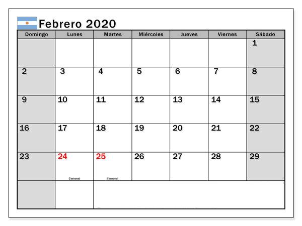 ,Editable Calendario Febrero 2019 Argentina
