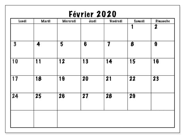 Février Calendrier 2020 Modes