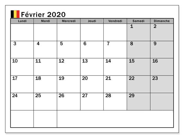 Fevrier Calendrier 2020 Belgique